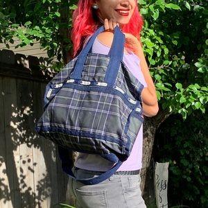 LeSportsac Plaid Messenger bag large purse blue